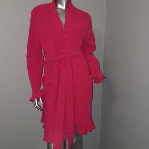 Fuschia thigh length robe with pockets